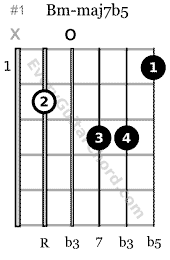 Bm-maj7b5 guitar chord root on the 5th string 1st position