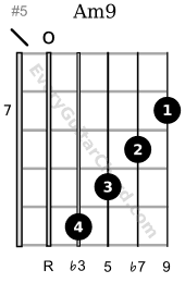Am9 guitar chord 7th position