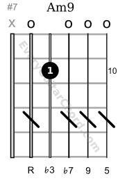 Am9 guitar chord 10th position