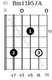 Bm11b5 chord root on the 2nd string 10th position