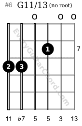 G11/13 extended chord 7th position