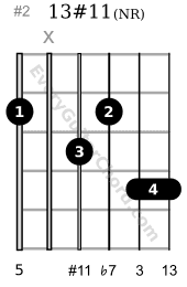 13#11 guitar chord A voicing variation