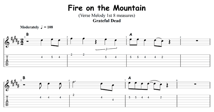 Two chord songs: Fire on the Mountain by the Grateful Dead