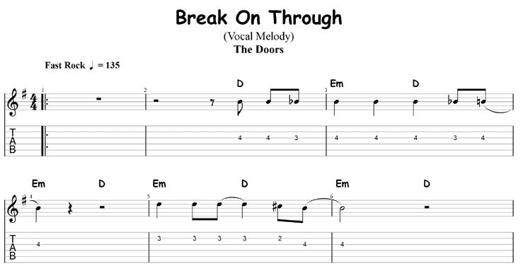 Ywo chord songs: Break on Through by the Doors