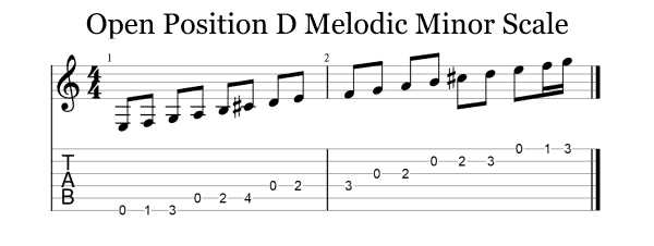 Open position D melodic minor scale