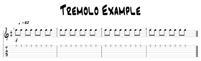 Example of tremolo practice TAB