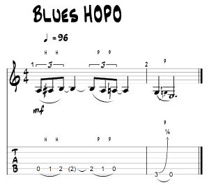 Blues guitar lick starting with hammer ons