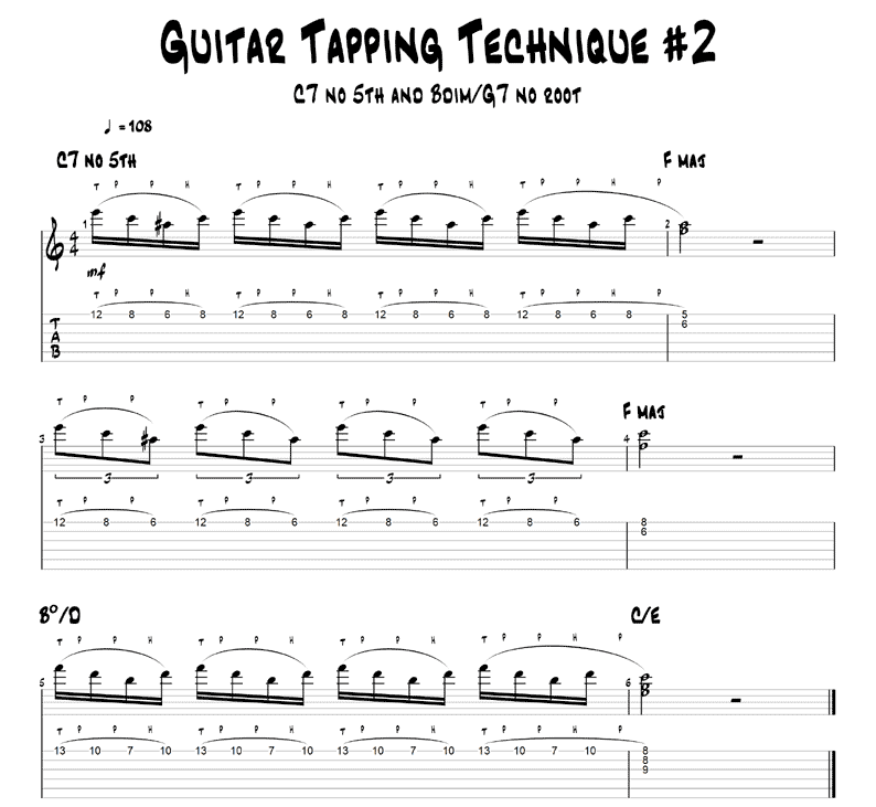 Dominant 7th guitar tapping example