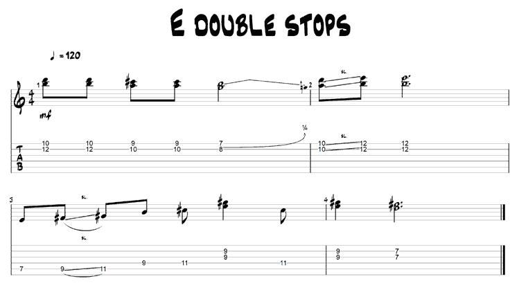E double stops guitar TAB